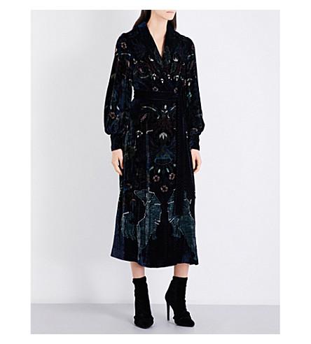 ALENA AKHMADULLINA Tapestry-embellished velvet dress (Navy+print