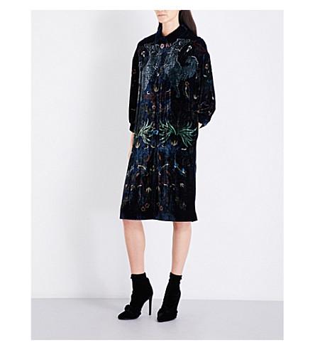 ALENA AKHMADULLINA Tapestry-embellished velvet coat (Navy+print