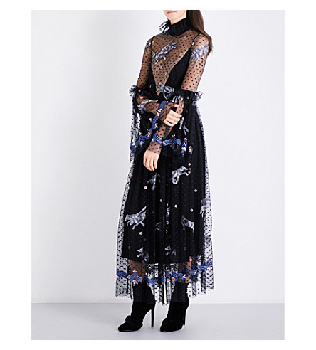 ALENA AKHMADULLINA Wolf-embroidered tulle dress (Black