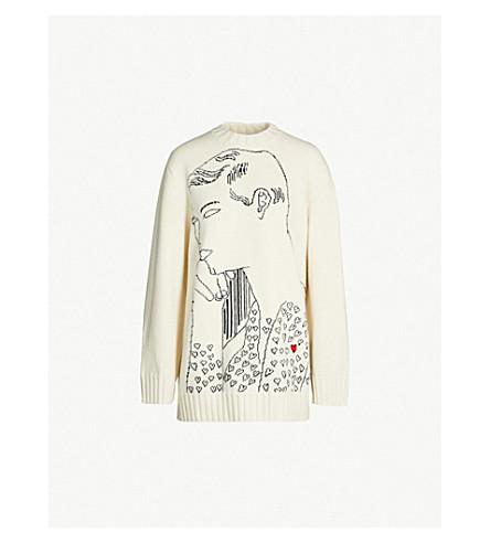 CALVIN KLEIN 205W39NYC Face-intarsia wool sweater (Ecru black red