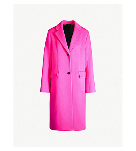 CALVIN KLEIN 205W39NYC Single-breasted wool coat (Fluo fuchsia