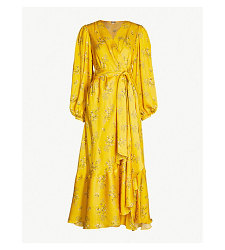 JOHANNA ORTIZ Flared-skirt floral-print silk wrap gown (Dandelion pearl