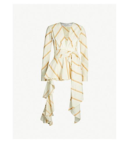 JOHANNA ORTIZ Party Wave asymmetric striped cotton shirt (Eccru camel
