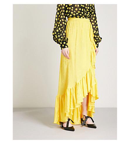 ATTICO Ruffled satin-jaquard maxi skirt (Yellow