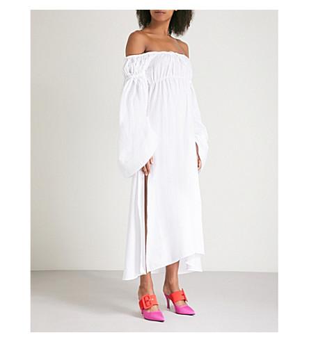 ATTICO Off-the-shoulder ruched cotton dress (White