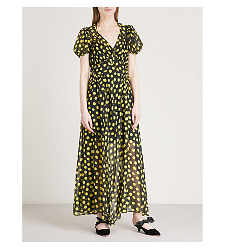 ATTICO Polka dot silk maxi dress (Black/yellow