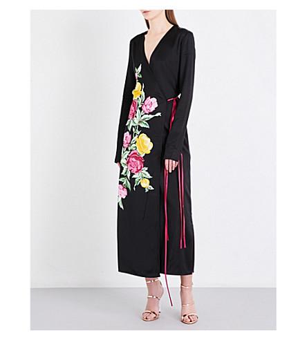 ATTICO Floral-print satin wrap dress (Black
