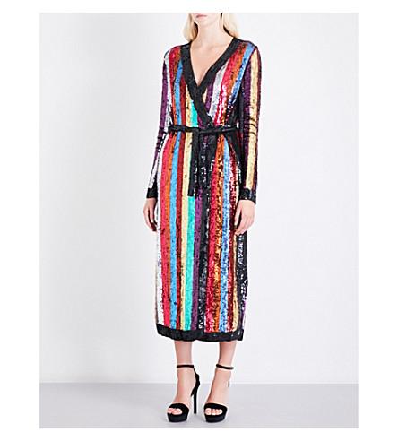 ATTICO Striped sequinned wrap dress (Multi