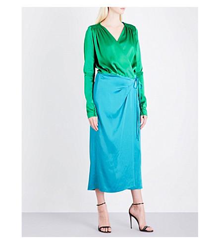 ATTICO Ombré satin wrap dress (Green