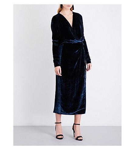 ATTICO Crushed-velvet wrap midi dress (Midnight