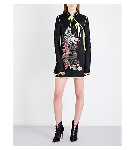 ATTICO Dragon-embroidered satin wrap kimono dress (Black