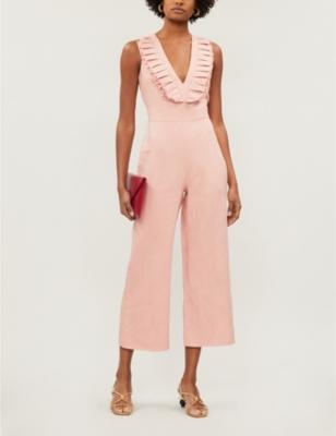 V-neck frill-sleeved linen jumpsuit