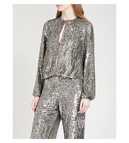 ALEXIS Liz puff-sleeve sequinned top (Silver+sequins