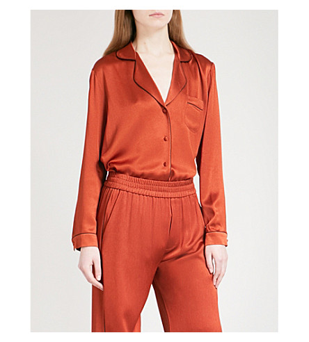 ALEXIS Anisa contrast-piped satin shirt (Rust