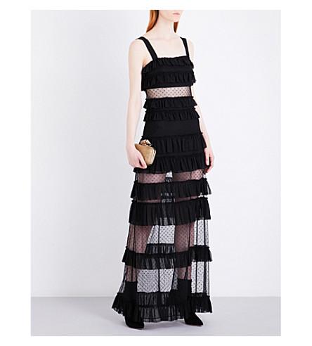 ALEXIS Coral mesh maxi dress (Black