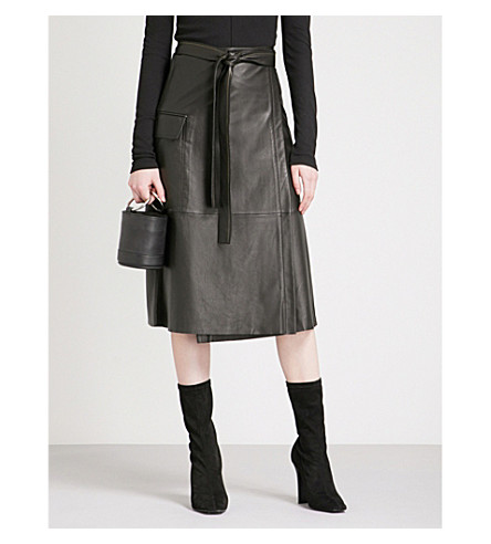 高帮腰皮革裙 (黑色