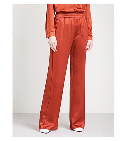 ALEXIS Conrad wide high-rise satin trousers (Rust