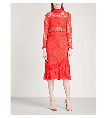 ALEXIS Anabella high-neck fit-and-flare lace dress (Red