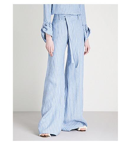 ALEXIS Cade wide-leg linen trousers (Light+blue+stripes