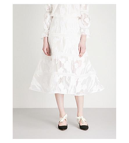 ALEXIS Dayla tulip-hem jacquard midi skirt (White