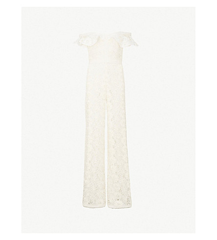 ALEXIS Edlyn off-the-shoulder floral-lace jumpsuit (Ivory+lace