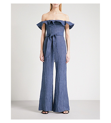 ALEXIS Striped off-the-shoulder linen-blend jumpsuit (Denim+stripes
