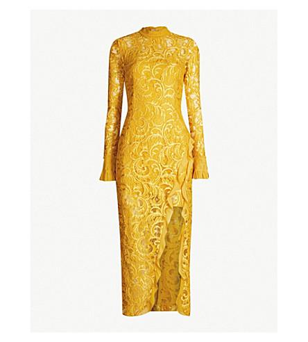 ALEXIS Fala ruffle-trimmed side-split lace dress (Gold lace