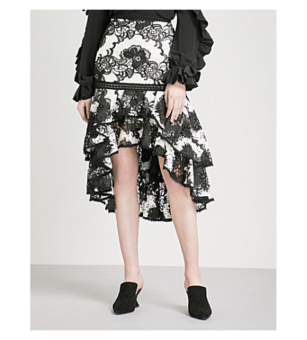 ALEXIS Halima high-rise lace skirt (Black+white