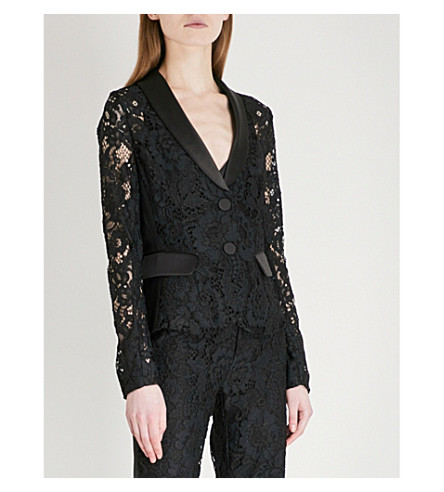 ALEXIS Luella single-breasted lace jacket (Midnight+lace