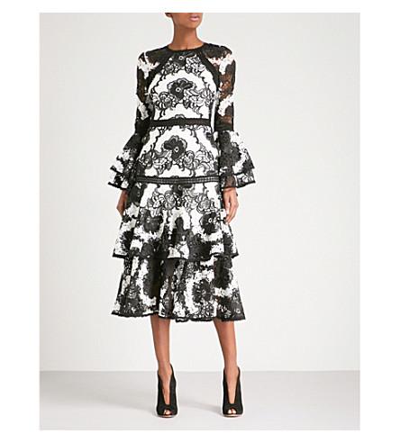 ALEXIS Nalani fit-and-flare lace midi dress (Black+white