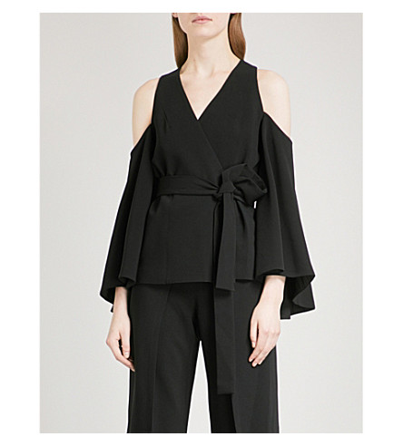 ALEXIS Nila cold-shoulder crepe blouse (Black