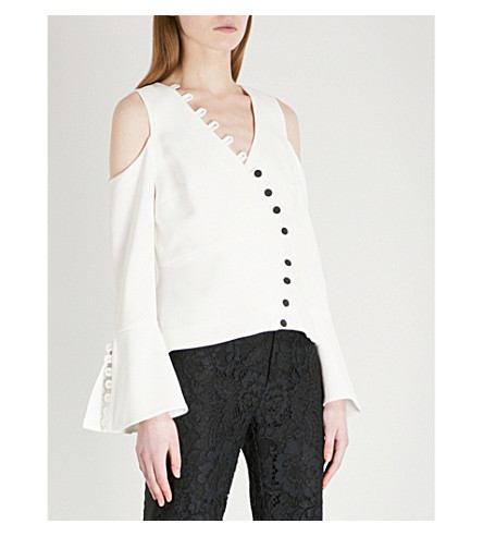 ALEXIS Noere cold-shoulder crepe blouse (Ivory