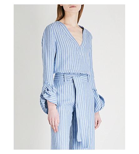 ALEXIS Pearce V-neck linen blouse (Light+blue+stripes