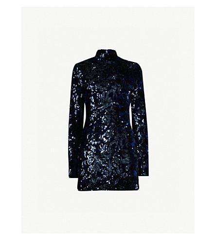 ALEXIS Rhapsody high-neck sequin-embellished velour dress (Navy