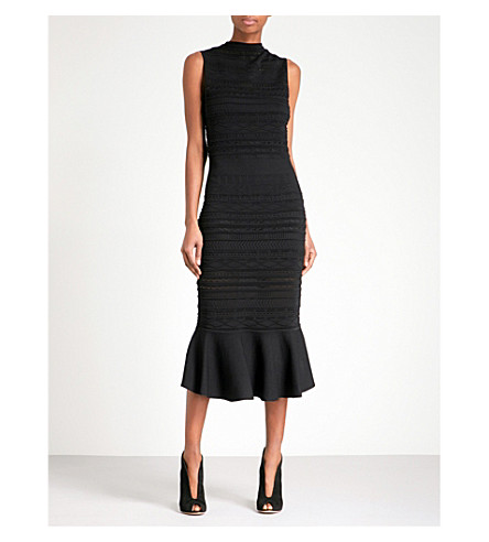 ALEXIS Rilla fit-and-flare knitted lace midi dress (Black