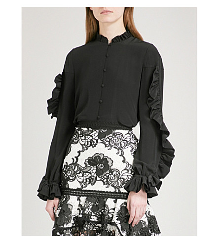 ALEXIS Rocio high-neck silk-crepe blouse (Black