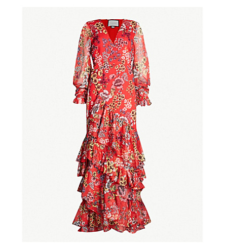 ALEXIS Ruffle-trimmed floral-print maxi wrap dress (Eden floral red