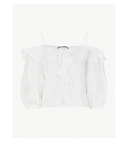 ALEXIS Tiana ruffled-shoulder linen top (Off+white