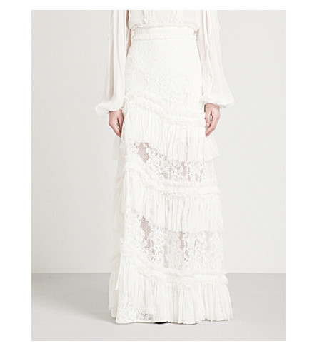 ALEXIS Zella high-rise lace maxi skirt (Ivory
