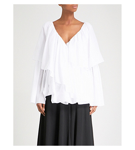 ROSETTA GETTY Ruffled V-neck cotton blouse (White