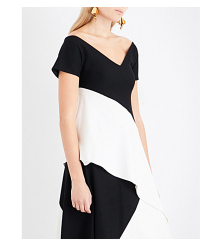 ROSETTA GETTY Asymmetric ponte jersey top (Black+ivory