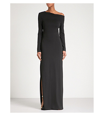 ROSETTA GETTY Asymmetric-neck fitted stretch jersey gown (Black