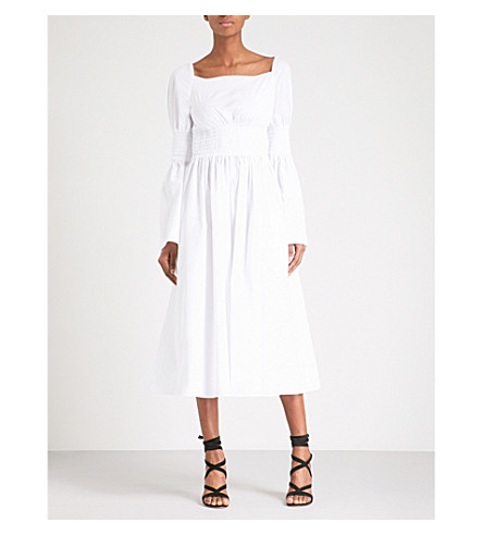 ROSETTA GETTY Smocked fit-and-flare cotton-poplin dress (White