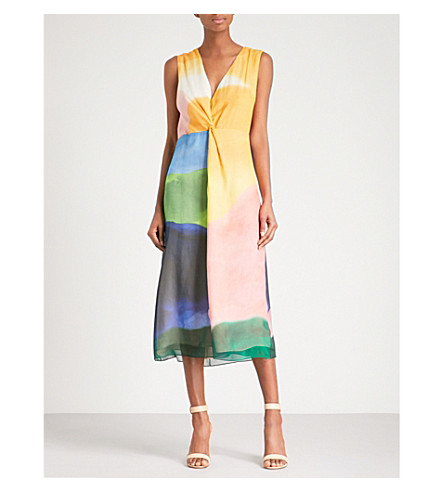 ROSETTA GETTY Watercolour-print V-neck silk midi dress (Multi