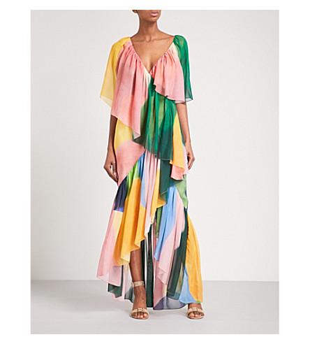 ROSETTA GETTY Watercolour ruffled silk dress (Multi