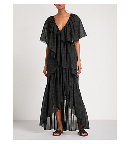 ROSETTA GETTY Ruffled cotton dress (Black