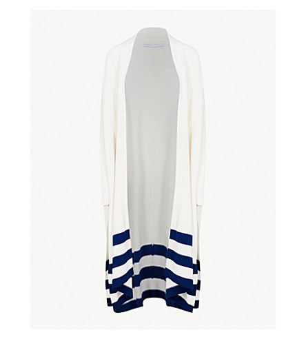 ROSETTA GETTY Striped-trim cashmere cardigan (White+lapis