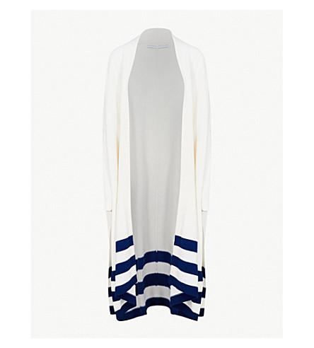 ROSETTA GETTY Striped-trim cashmere cardigan (White+lapis