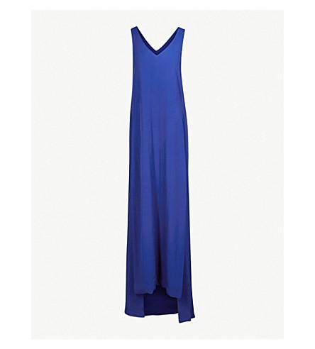 ROSETTA GETTY V-neck crepe maxi dress (Blue+lapis