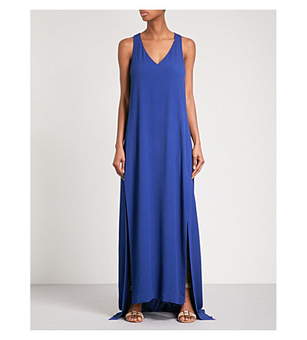 ROSETTA GETTY V-neck crepe maxi dress (Blue+lapis